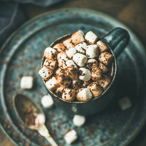 Winter warming sweet drink hot chocolate with marshmallows square crop