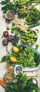 Spring healthy vegan food cooking ingredients top view vertical composition