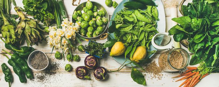 Spring healthy vegan food cooking ingredients  top view