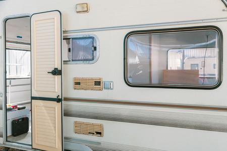Restoring old caravan with door open