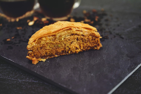 Turkish baklava with organic black tea