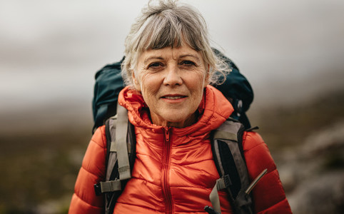 Portrait of a senior female hiker