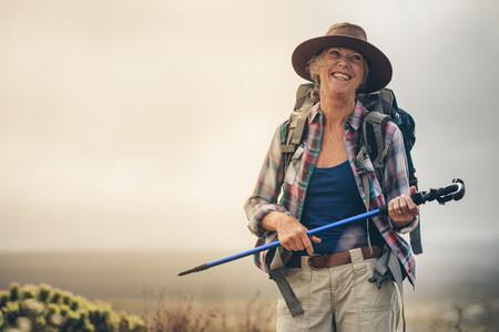 Senior woman enjoying her hiking trip