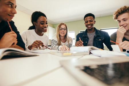 Group of multiracial people studying together