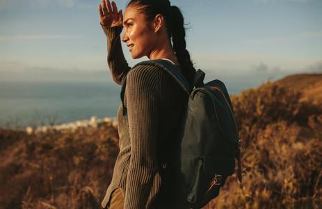 Female hiker admiring a view