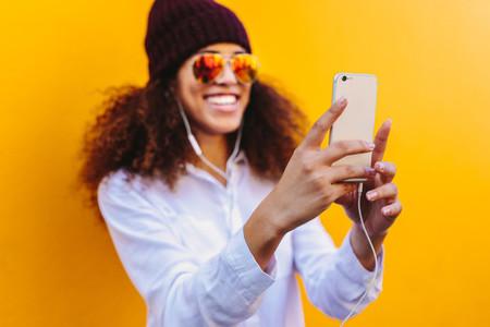 African girl taking a selfie