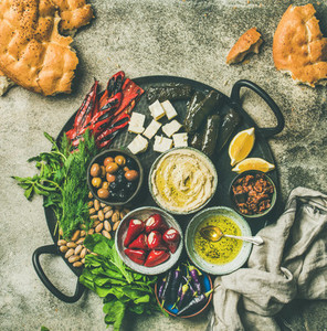 Mediterranean meze starter fingerfood platter  copy space