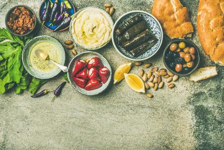 Mediterranean or Middle Eastern meze starter fingerfood platter  copy space