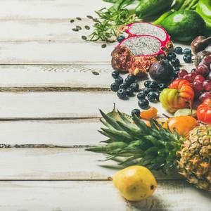 Helathy raw vegan food cooking background square crop