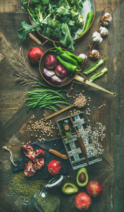 Winter vegetarian or vegan food cooking ingredients vertical composition