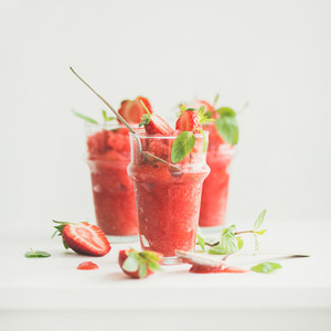 Strawberry champaigne summer granita in glasses copy space square crop