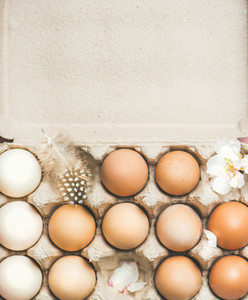 Natural colored eggs in box for Easter vertical composition
