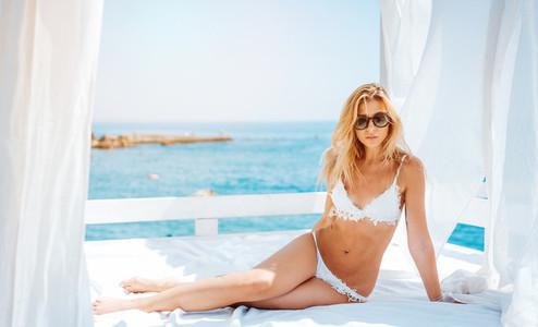 beautiful woman in white bikini