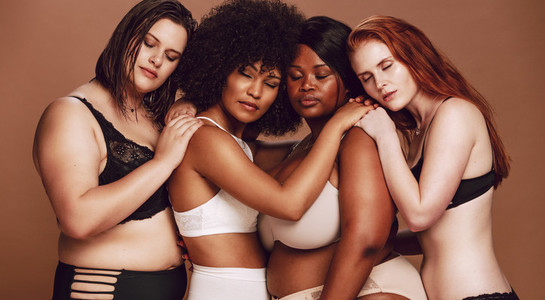 Diverse group of women in lingerie together