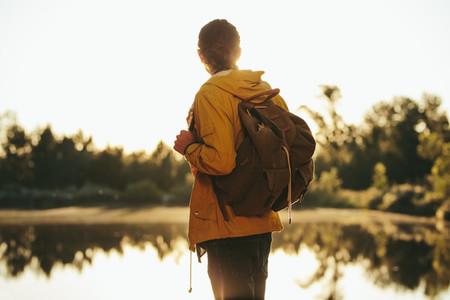 Traveler enjoying nature