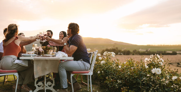 Group of friends toasting wine at dinner party