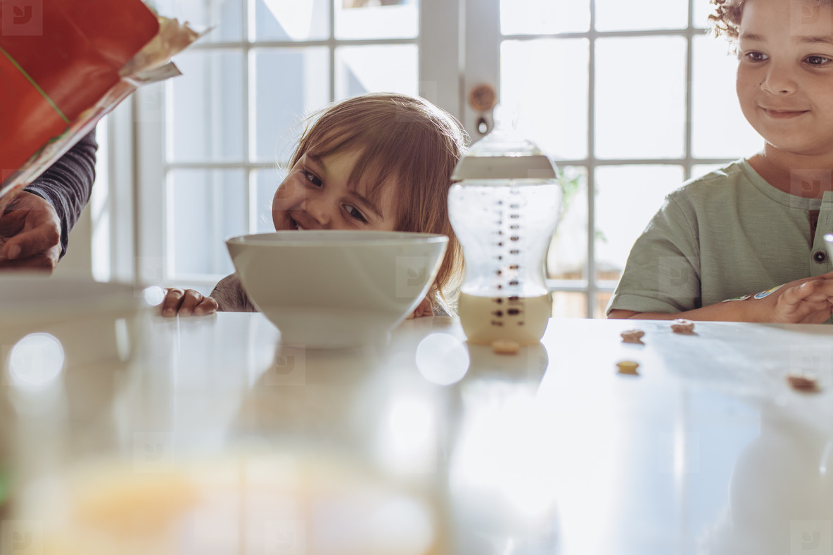 Smiling kids sitting at the dining table