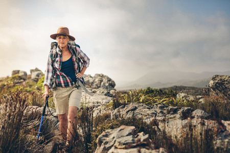 Senior woman on an adventurous hiking trip