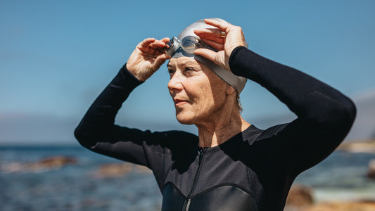 Portrait of a senior woman swimmer