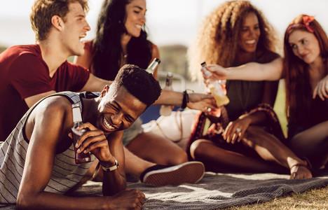 Guy enjoying summer weekend with friends