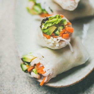 Shrimp and vegetable rice paper spring rolls  square crop