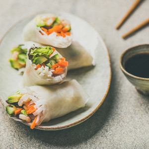 Shrimp and vegetable rice paper rolls  grey background  square crop