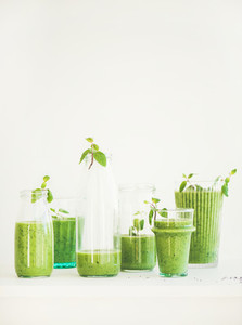 Matcha green smoothie with chia seeds  copy space  vertical composition
