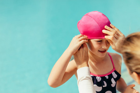 Girl getting ready for swimming lessons