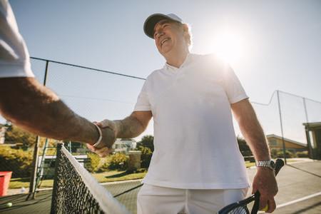 Close up of a senior man on a tennis court