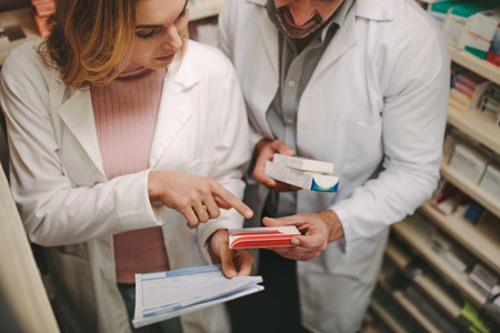 Chemists with a prescription looking for right medicne
