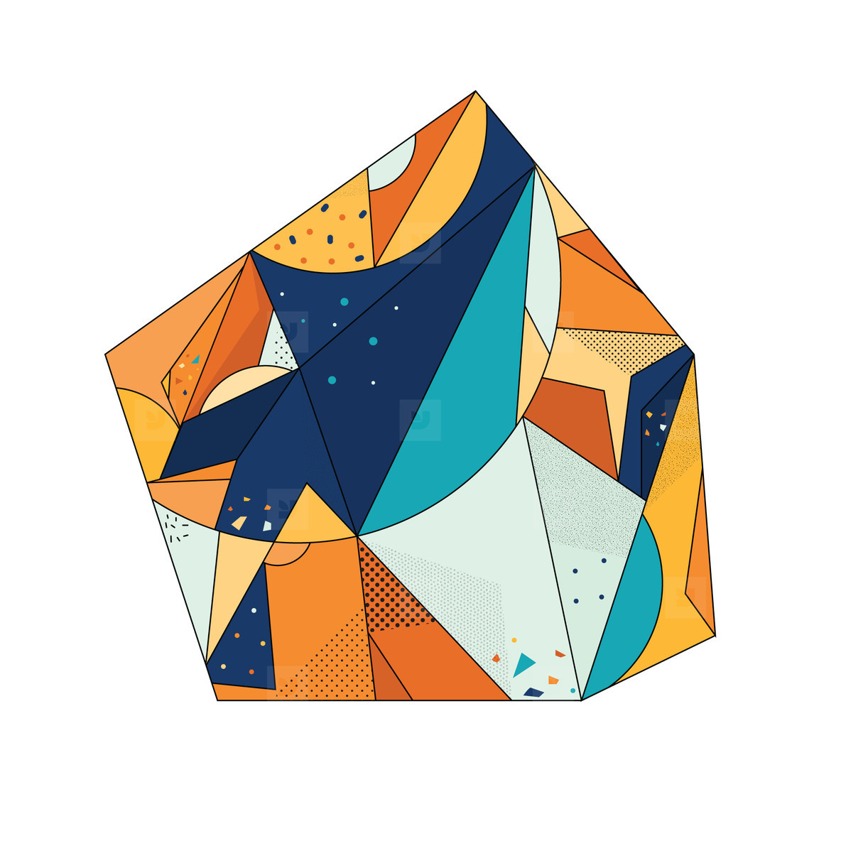 Colored Geometric Crystal 04