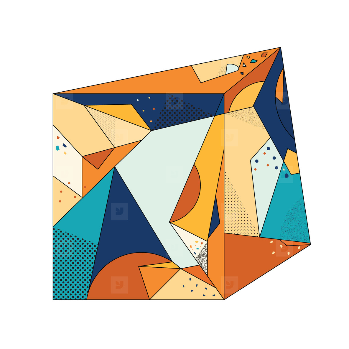Colored Geometric Crystal 07