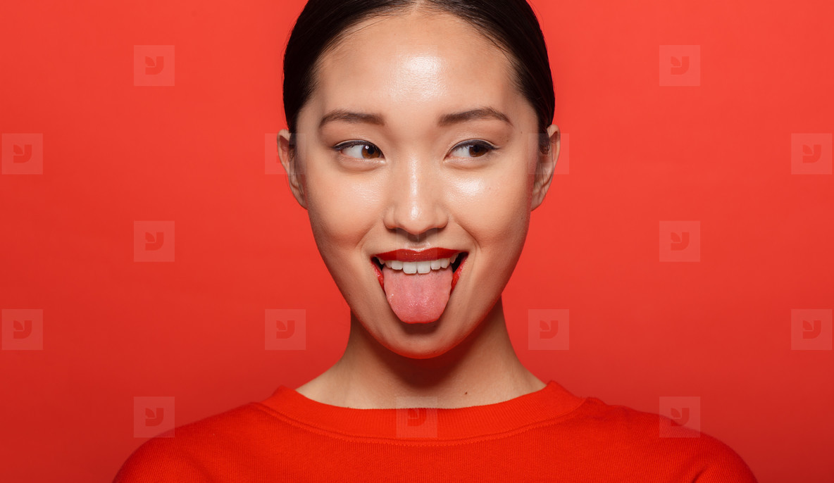 Woman making funny face