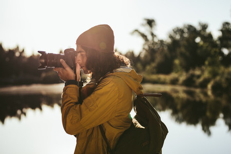 Tourist capturing the beauty of nature in camera