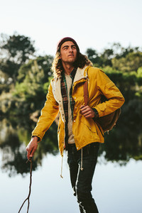 Traveler walking in a countryside location
