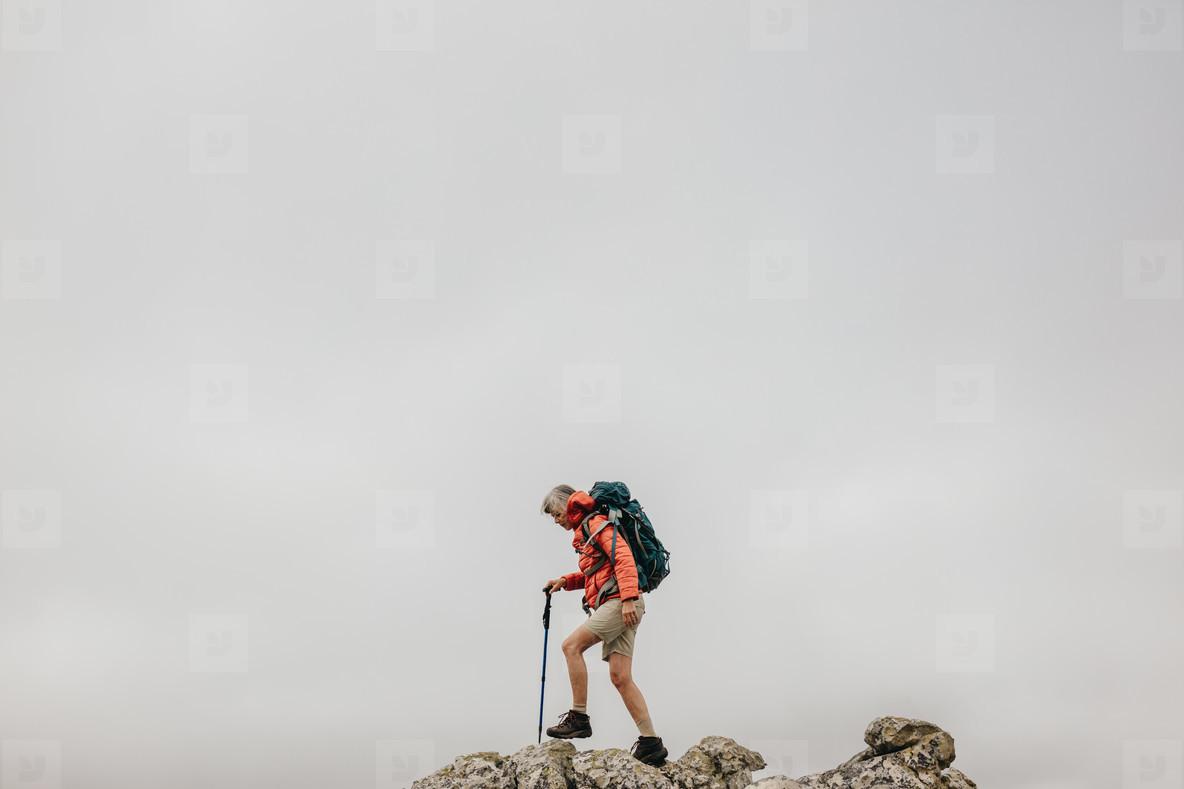 woman on an adventurous hiking trip