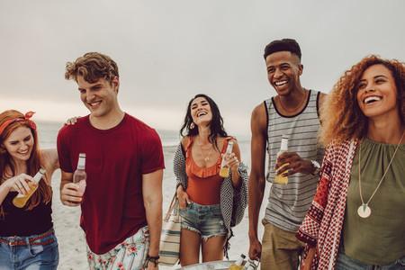 Multi ethnic friends enjoying at the beach