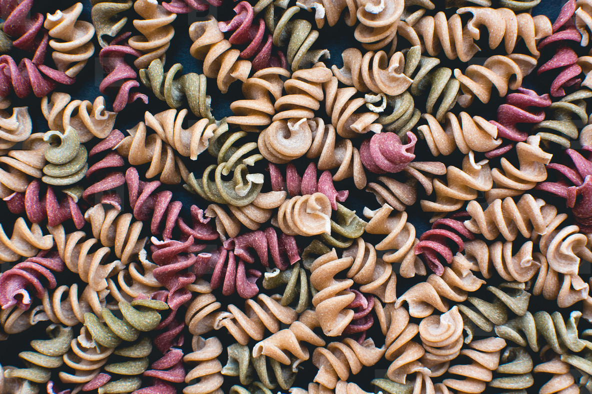 Full frame of colorful pasta fus