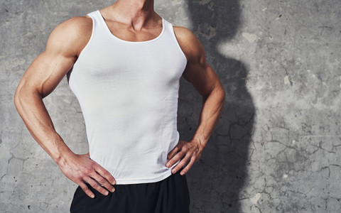 Close up fitness portrait of white man