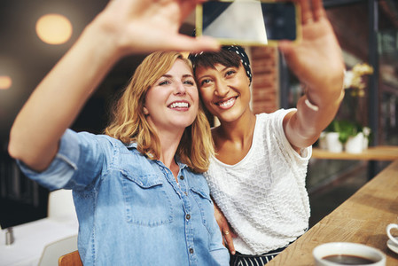 Smiling attractive girlfriends taking a selfie
