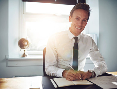 Business man executive writing notes