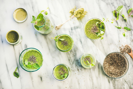 Matcha green vegan smoothie with chia seeds  top view