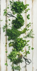Various fresh green kitchen herbs over white wooden background