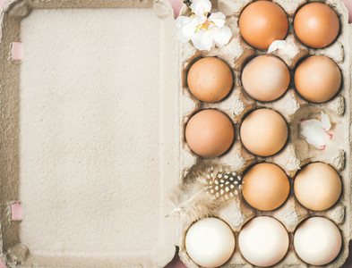 Natural colored eggs in box for Easter  copy space
