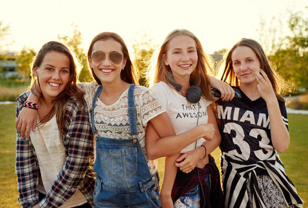 Group of teenage girls hanging out
