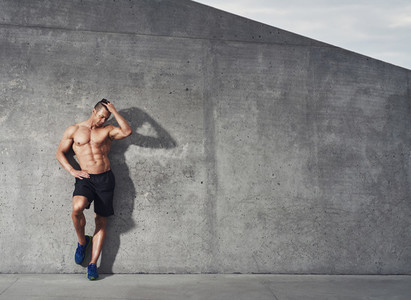 Fit and healthy male fitness model portrait