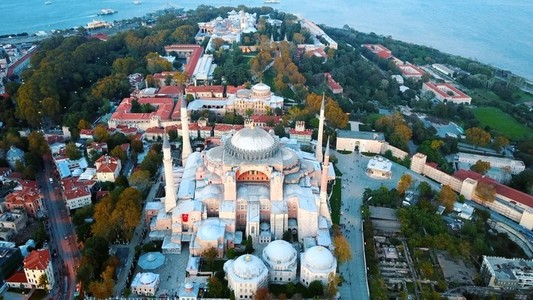 Sehzade Mosque from sky Golden Horn Istanbul