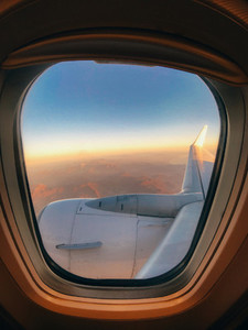 view through the airplane window