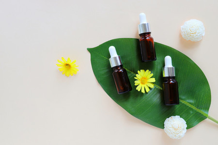 Flat lay of organic aromatherapy oils and beauty products for mo