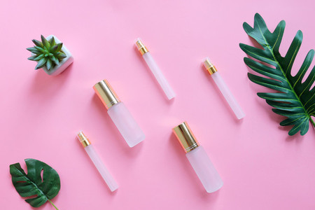 Flat lay of beauty skincare products for mock up in minimal styl
